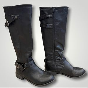 Guess Riding Boots Black Leather Size 8